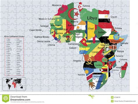 printable puzzle map of africa africa continental country flags and map puzzle stock