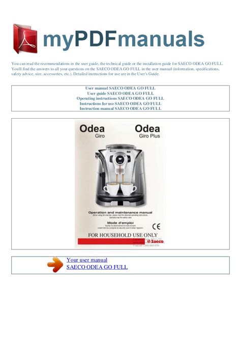 one user manual user manual saeco odea go