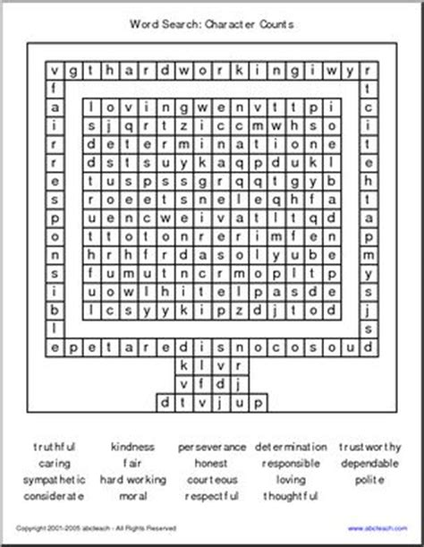 printable word search on respect free printable character education worksheets for middle