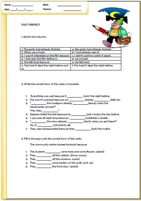 verb tense worksheets past perfect past perfect tense worksheet