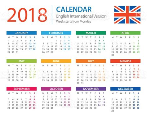 printable calendar english calendar 2018 english european international version stock
