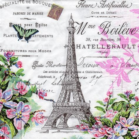 Vintage Decoupage Paper Uk - 4 x single paper napkins vintage style la tour eiffel