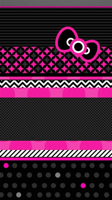 wallpaper hello kitty black and pink hello kitty pink and black love wallpaper mobile 187 extra
