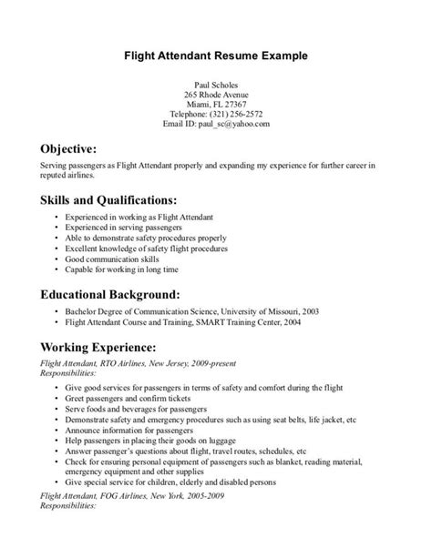Flight Attendant Resume Objective by Flight Attendant Cover Letter Sle Resume Objective