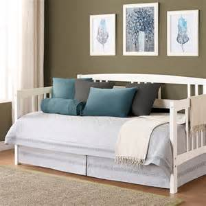 White Wooden Daybed Espresso Wooden Daybed With Brown White Floral Pattern Bedding Combined With Carved White Wooden