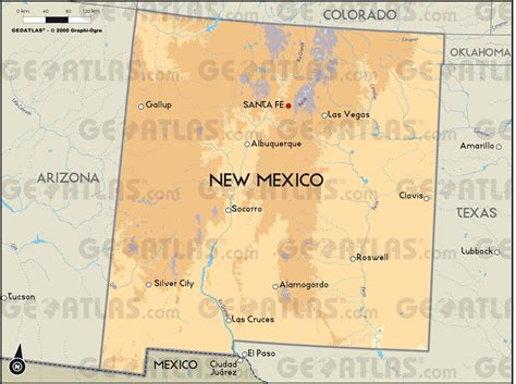physical map of new mexico geoatlas united states canada new mexico map city