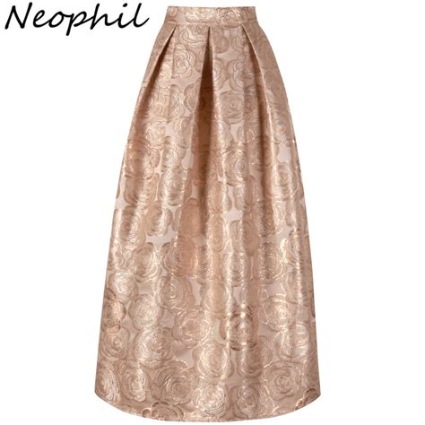 Pleated Flare Maxi Skirt Rok Fit To Big Size neophil 2017 floral print vintage maxi skirts high waist gown pleated