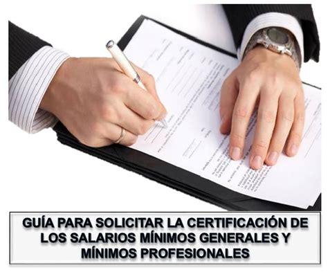 consulta ciudadana de los salarios mnimos profesionales gu 237 a para solicitar la certificaci 243 n de los salarios
