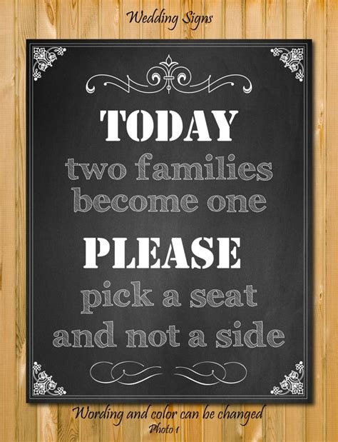 Wedding Quotes A Seat Not A Side by Chalkboard Wedding Sign A Seat Not A Side Quote