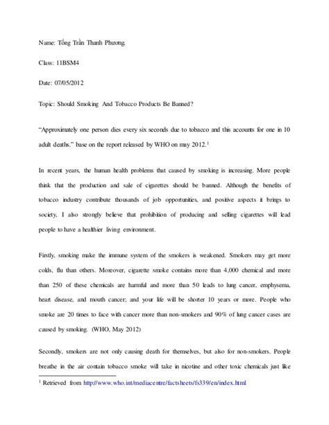 Tobacco Essay by Aggumentative Essay