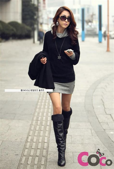 Dress Model Casual Simple Style Gray Black Impor black sleeves fall winter collection korean fashion dress fashion winter