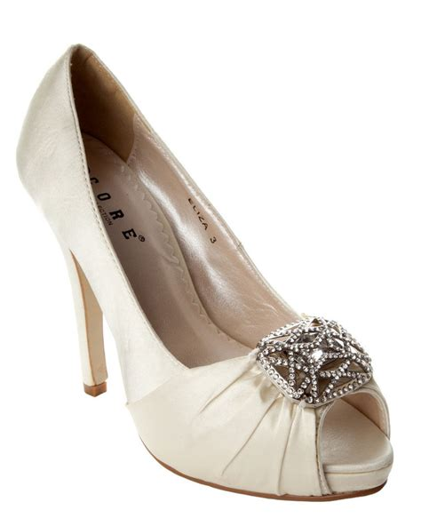 Womens Ivory Wedding Shoes by Womens Ivory Satin Diamante Bridal Wedding Shoes