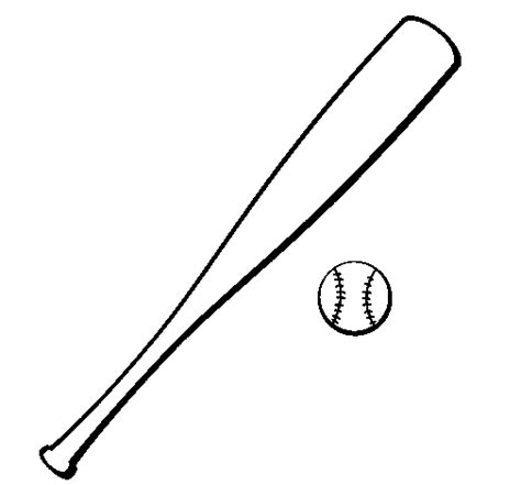 baseball bat and baseball ball coloring page
