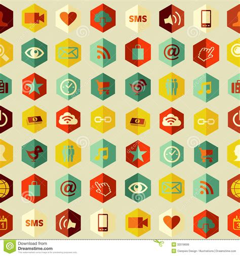 pattern making app social app icons set pattern stock vector image 32018699