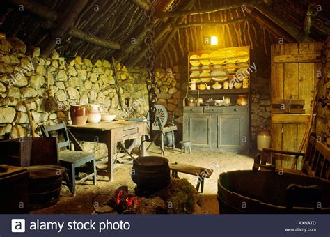 black interior house interior of the black house traditional croft at the museum at stock photo royalty