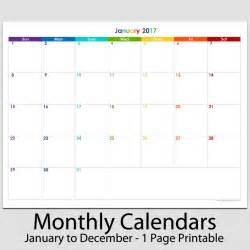 1 Calendar Month Calendar 2016 Printable For 12 Months Calendar Template 2016