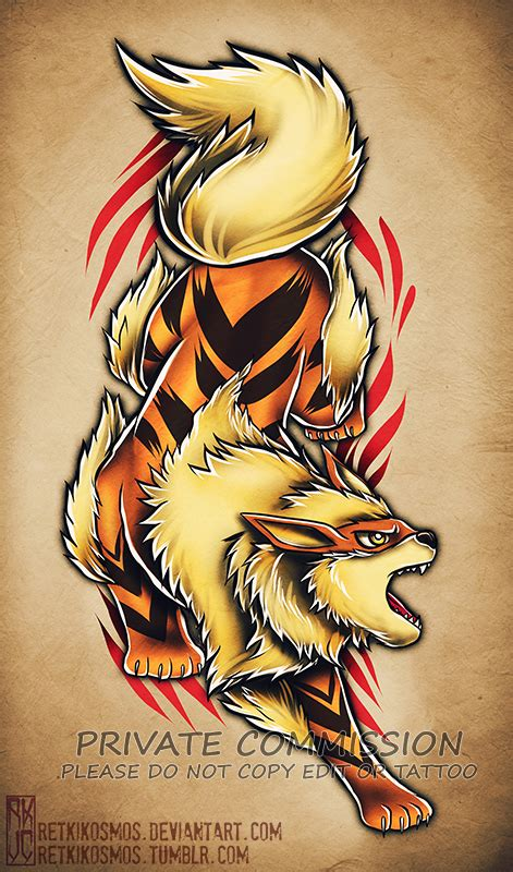 arcanine tattoo arcanine commission by retkikosmos on deviantart