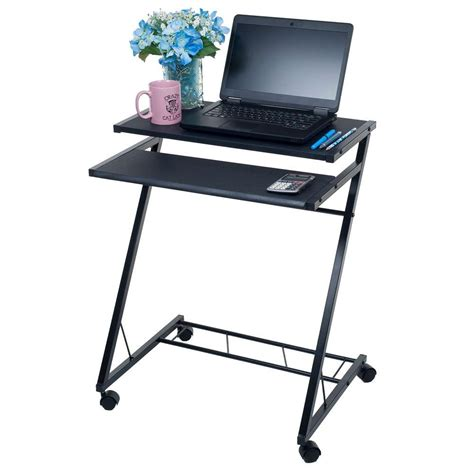Small Computer Desk On Wheels Lavish Home Black Laptop Desk With Wheels 80 Ct10080 The Home Depot