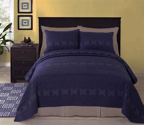 Coverlet And Quilts Rosaline Navy Blue Matelasse Quilt Coverlet Set Paired