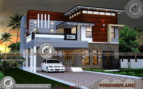 2 storey house design with terrace with contemporary