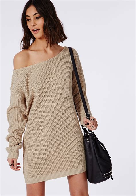 knitted dress missguided ayvan shoulder knitted sweater dress light