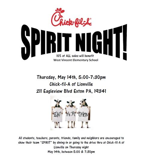 Chick Fil A Spirit Night May 14th West Vincent Elementary School Pta Fil A Flyer Template
