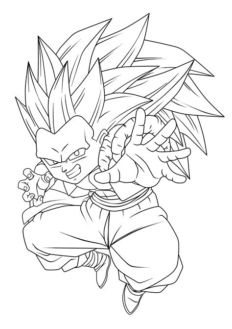 dbz gotenks ss3 free coloring pages