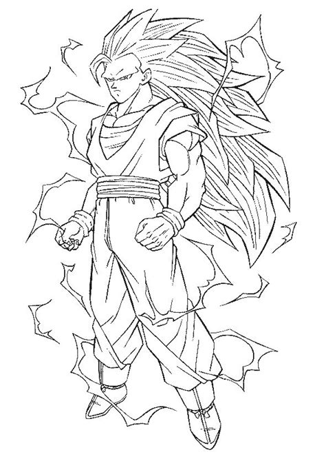 dragon ball full power goku super saiyan 3 coloring pages