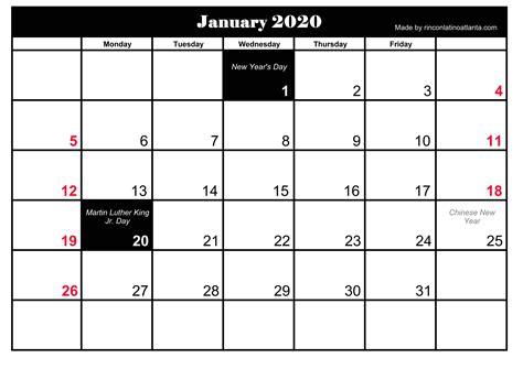 january  holidays calendar