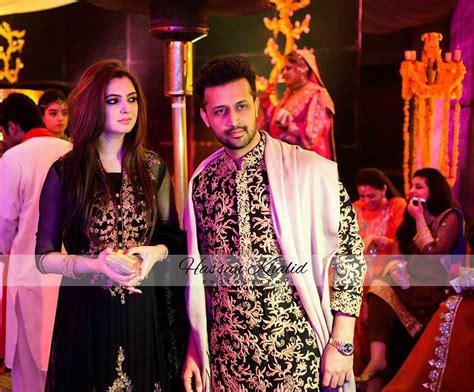 atif aslam wife atif aslam with wife sarah bharwana at a wedding function