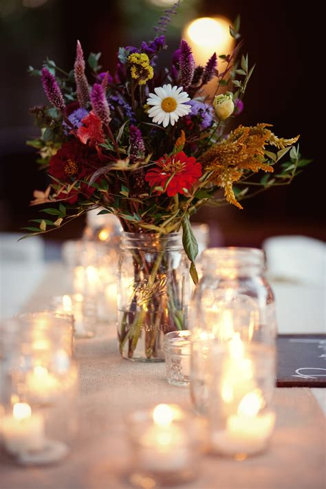 virginia vineyard wildflowers wedding centerpieces with