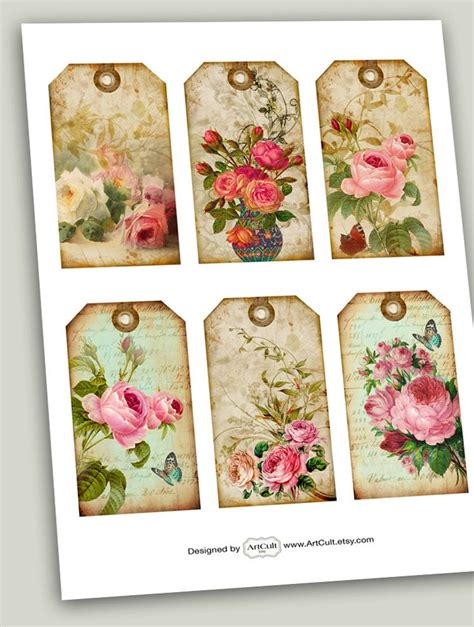 shabby chic gift tags no1 digital collage sheet printable download