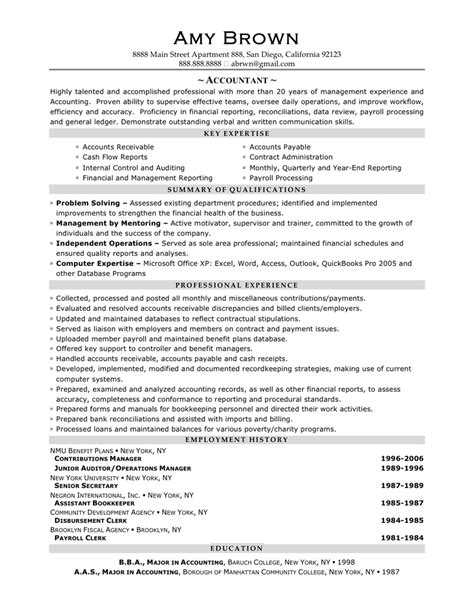 accountant resume sle by brown writing resume