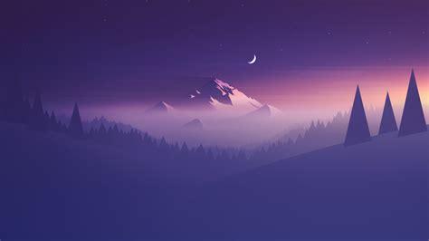 wallpaper mountain minimal  moon hd creative