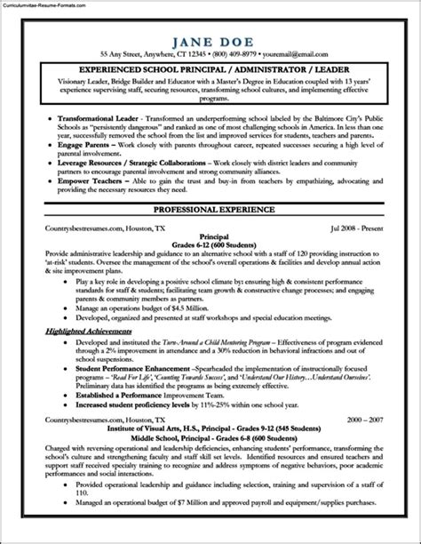 Principal Resume Template by Principal Resume Template Free Sles Exles