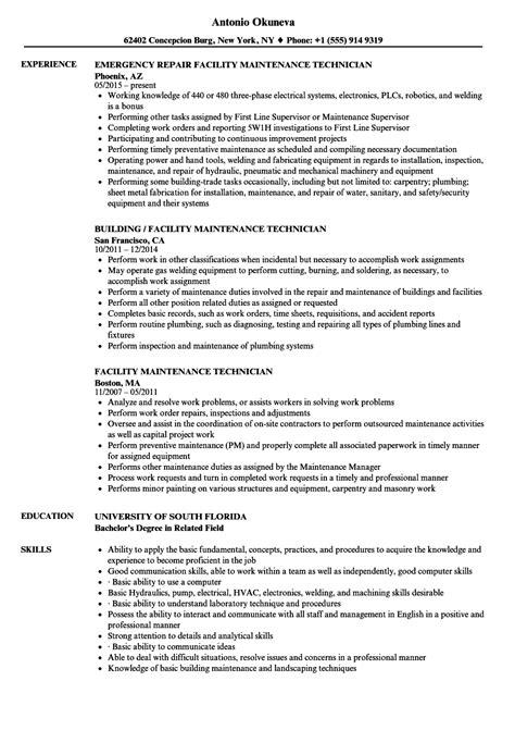 maintenance technician resume format facility maintenance technician resume sles velvet