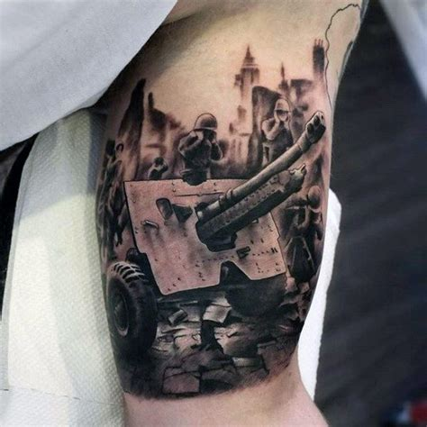 artillery tattoo designs 90 army tattoos for manly armed forces design ideas