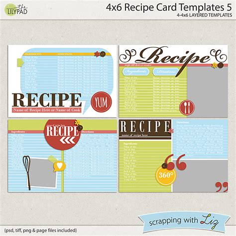 4x6 recipe card word template digital scrapbook templates 4x6 recipe card 5