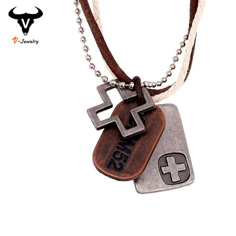Ss Leather Necklaces 1 multilayer stainless steel leather chain necklace vintage hollow cross tag pendant