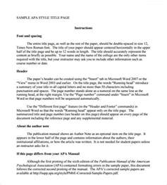 Apa Format Template by Sle Apa Format Title Page Template 6 Free Documents