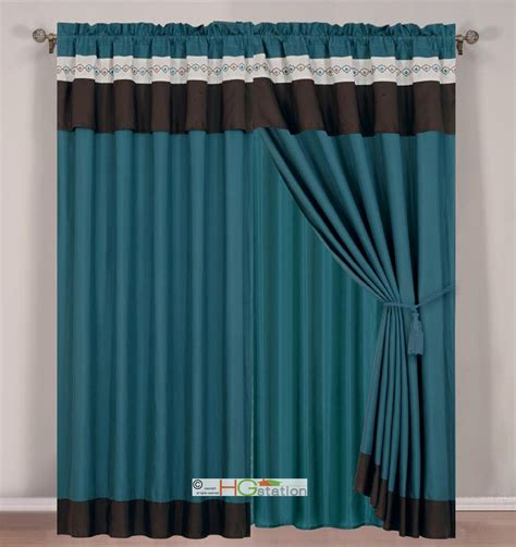 Teal Valance 4 Pc Floral Damask Embroidery Curtain Set Teal Brown Ivory