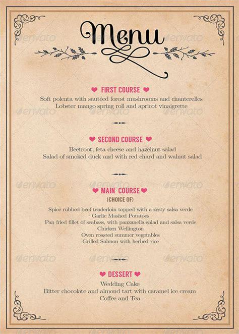 design menu for wedding 9 wedding party menu designs templates free