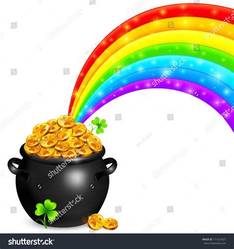 Stock Pot Golden pot gold magic rainbow stock vector 171622427