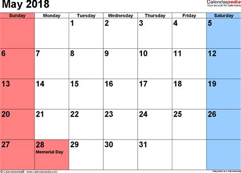 may 2018 calendars for word excel pdf