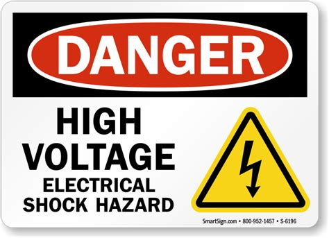 high voltage construction standards high voltage electrical shock hazard sign osha compliant