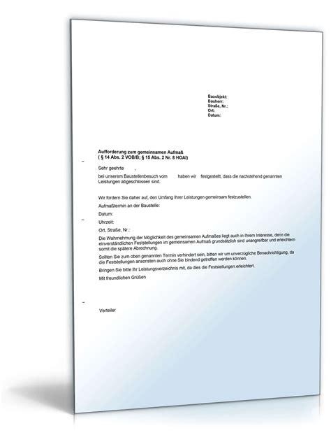 Musterbrief Kündigung Gemeinsamer Mietvertrag Aufforderung Zum Gemeinsamen Aufma 223 Durch Den Auftraggeber