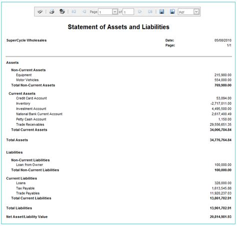 statement of assets and liabilities template free gallery