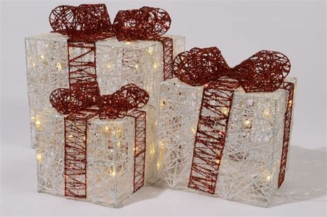 how to make a wire christmas gift box on pinterest set of 3 led indoor lights gift boxes wire white bows ebay