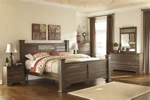4 post bedroom set signature design b216 allymore brown 4 pcs king poster