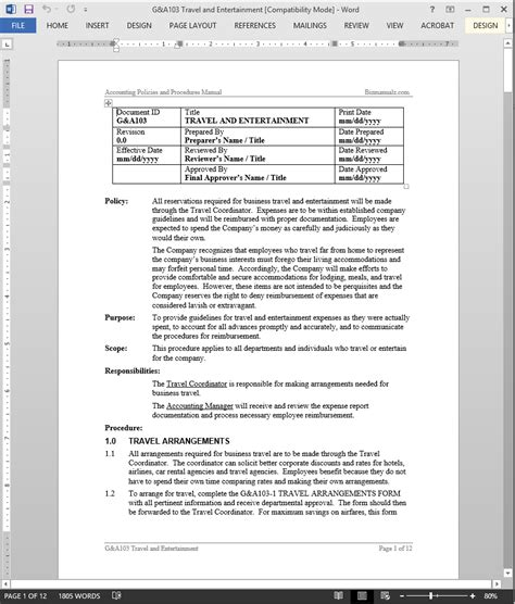 Travel And Entertainment Policy Template Travel Entertainment Procedure